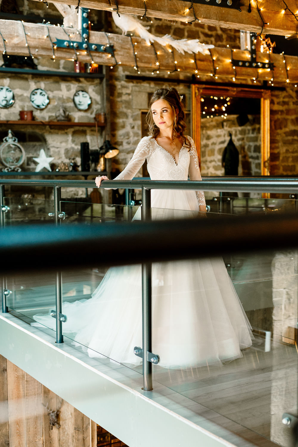Dress Gown Bride Bridal Lace Buttons Sheer Tulle Skirt Princess Wharfedale Grange Wedding Hayley Baxter Photography