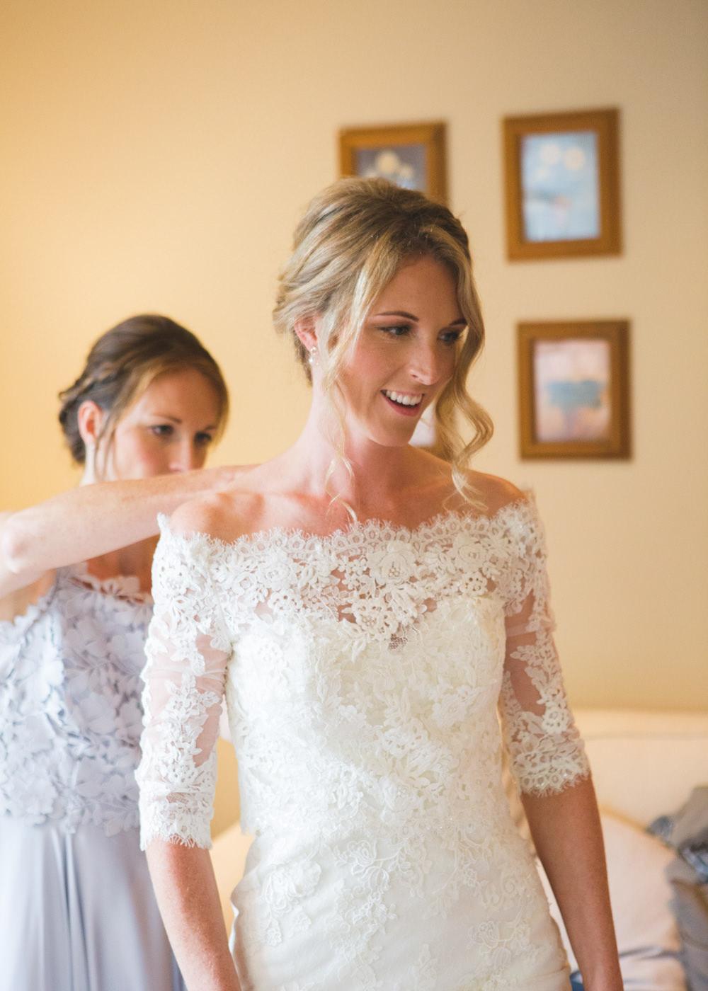 Bride Bridal Dress Gown Lace Sleeves Bardot Off Shoulder Pronovias Fit Flare Airbnb Wedding Pickavance Weddings