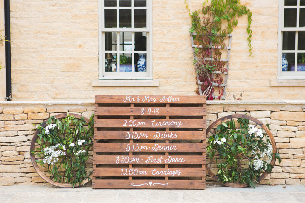 Wooden Pallet Sign Signage Signs Order of Day Airbnb Wedding Pickavance Weddings