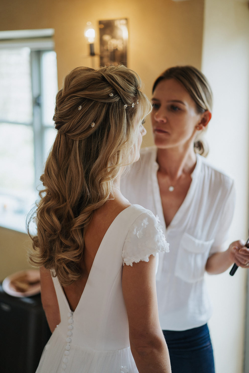 Bride Bridal Hair Style Half Up Half Down Pins Do Boho Country Wedding Kit Myers Photography
