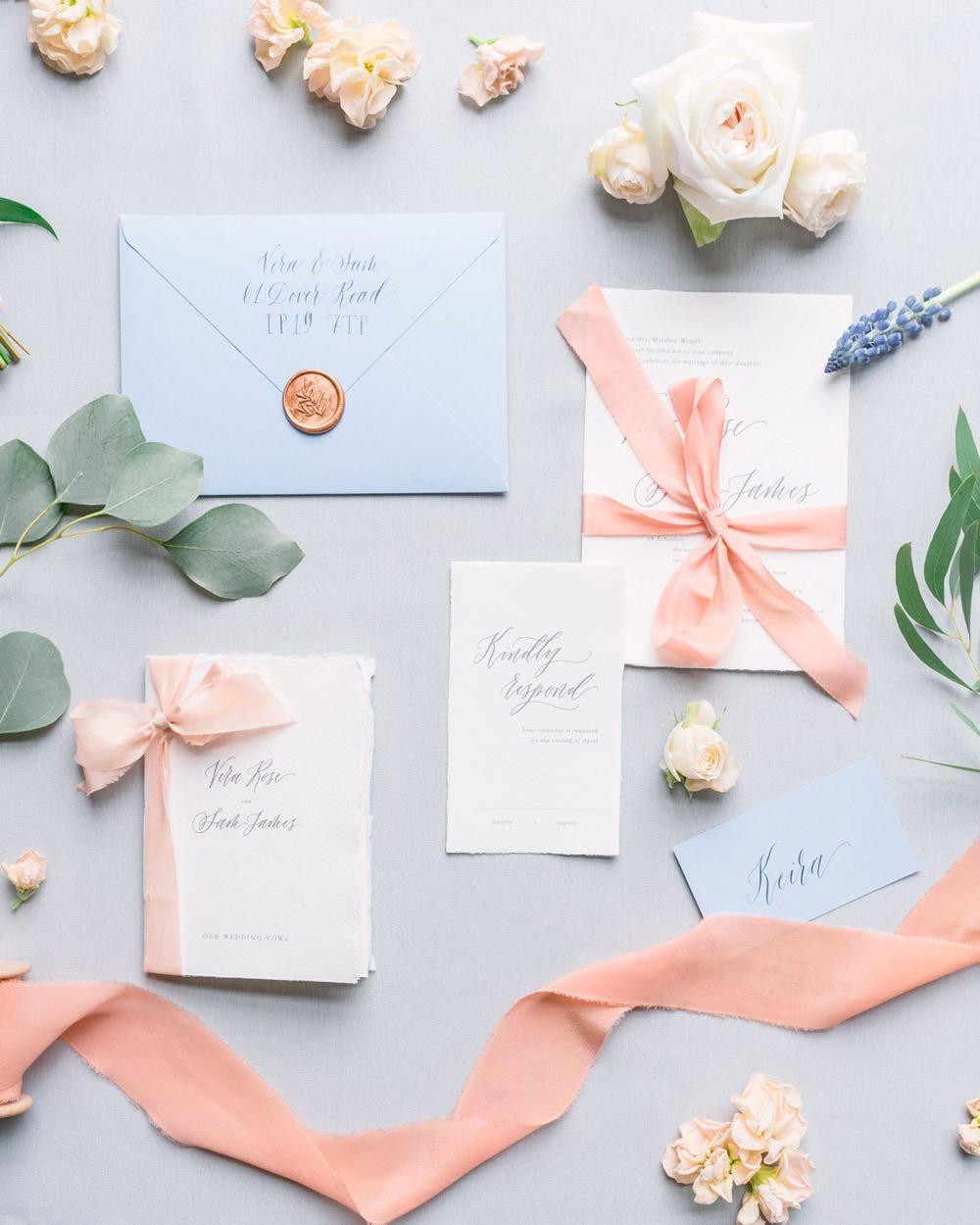 Pastel Pink Blue Stationery Invite Invitations Coral Peach Wax Seal Calligraphy Flat Lay Elegant Wedding Ideas Yll Weddings