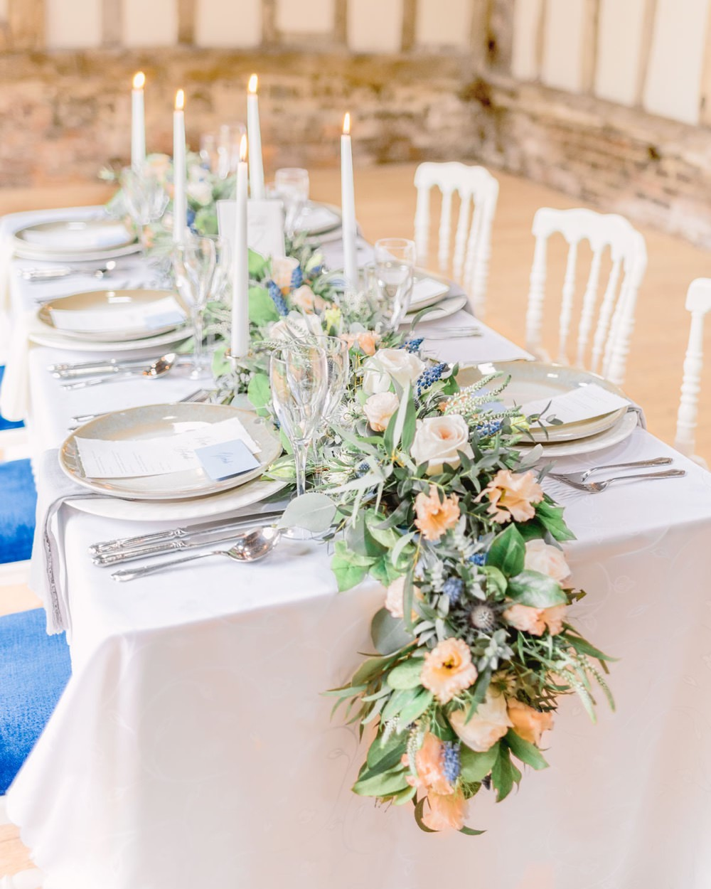 Tablescape Table Decor Decoration Peach Flowers Greenery Foliage Candles Runner Swag Elegant Wedding Ideas Yll Weddings