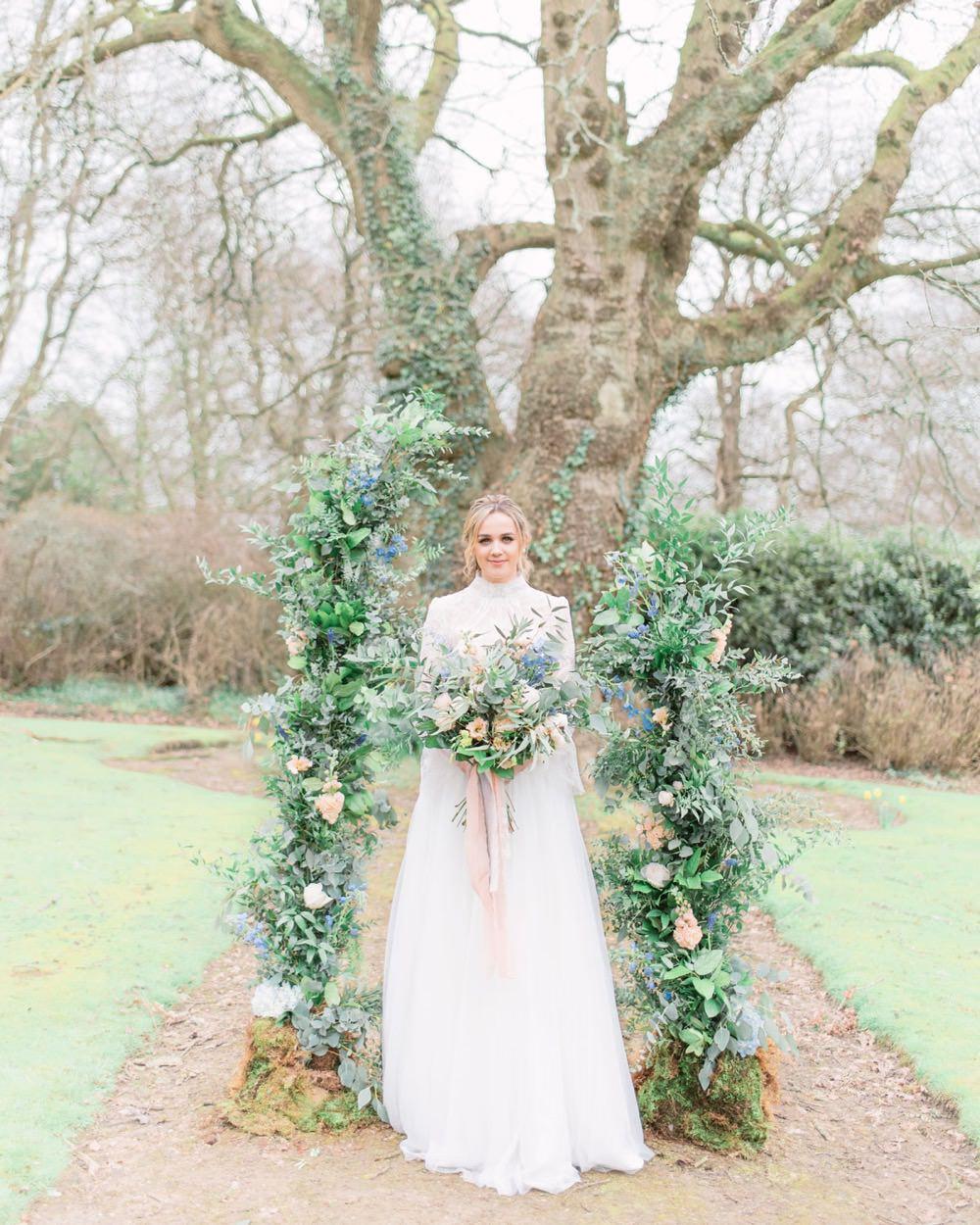 Unstructured Flower Arch Peach Greenery Foliage Backdrop Natural Elegant Wedding Ideas Yll Weddings
