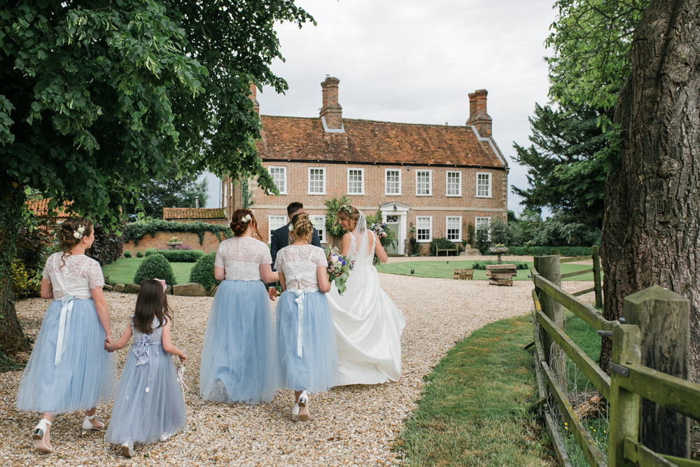 Bride Bridal V Neck A Line Dress Gown Lace Edged Veil Flower Crown Multicoloured Bouquet Tweed Suit Groom Blue Tulle Skirt Bridesmaids Lincolnshire Tipi Wedding Jessy Jones Photography
