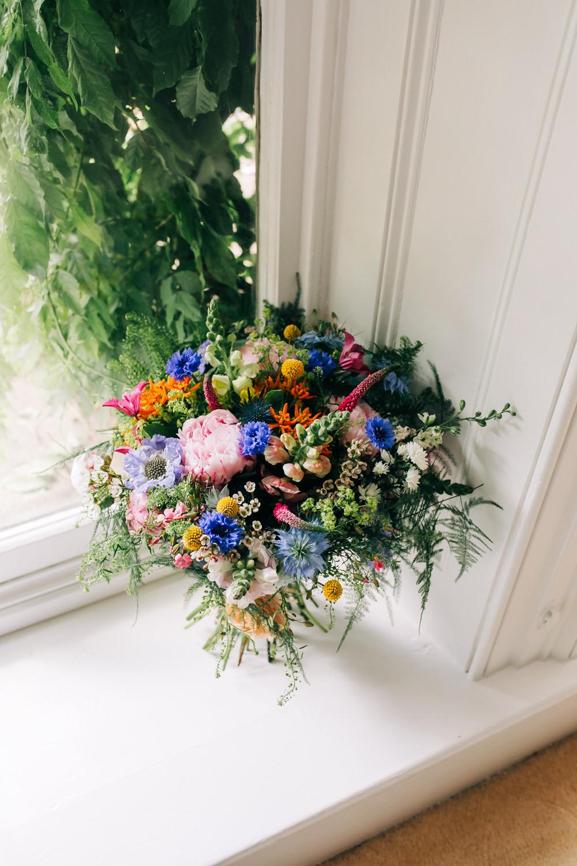 Multicoloured Wildflower Bouquet Bride Bridal Lincolnshire Tipi Wedding Jessy Jones Photography