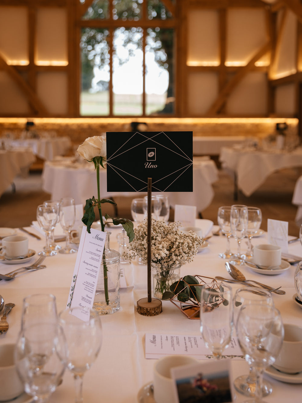 Table Centre Number Gypsophila Mickleton Hills Farm Wedding Jules Barron Photography