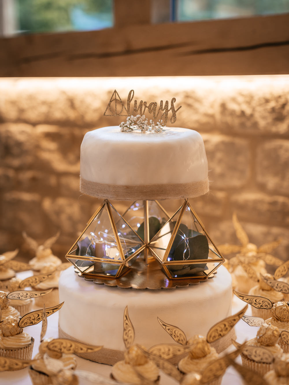 Harry Potter Cake Geometric Always Golden Snitch Fairy Light Mickleton Hills Farm Wedding Jules Barron Photography