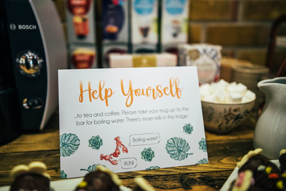 Tea Coffee Stand Station Sign Outdoor DIY Wedding Three Flowers Photography