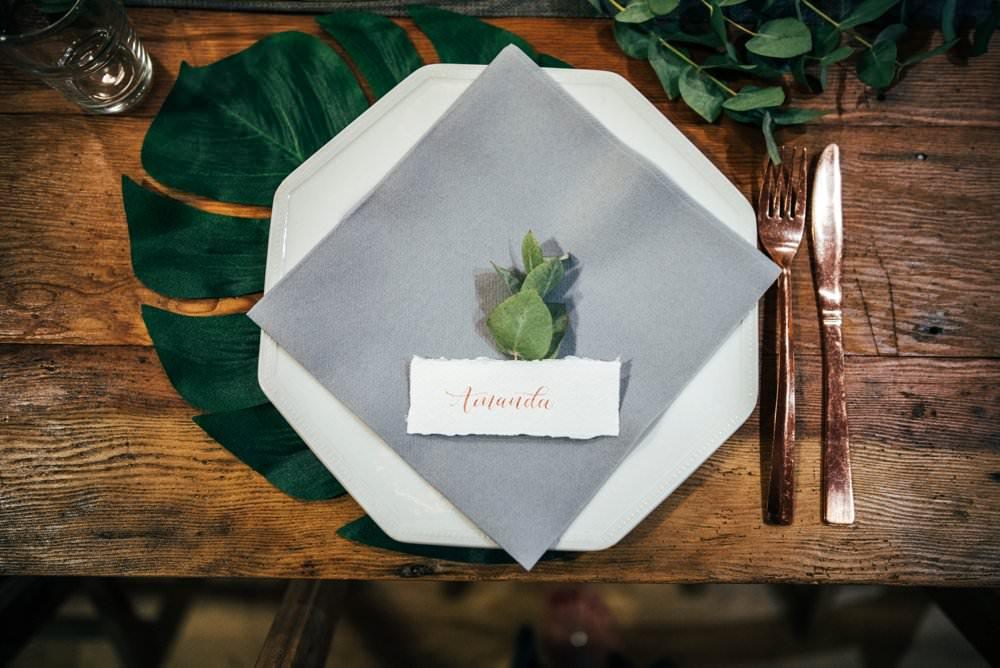 Place Setting Decor Palm Leaf Plate Grey Napkin Greenery Foliage Outdoor DIY Wedding Three Flowers Photography