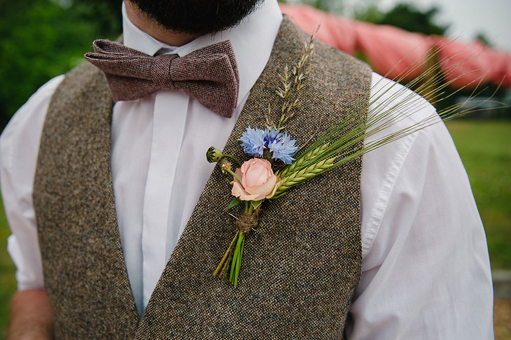 Tweed Bow Tie Groom Waistcoat Buttonhole Wheat Pet Wedding Ideas Vicky Plum Photography
