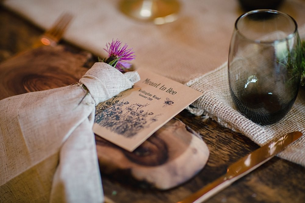 Place Setting Napkin Flowers Wildflower Seed Favours Favors Pet Wedding Ideas Vicky Plum Photography
