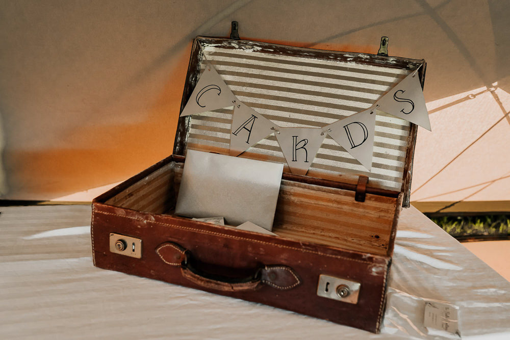 Vintage Suitcase Cards Village Tipi Wedding Ryan Goold Photography