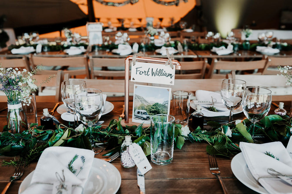 Copper Pipe Table Name Number Village Tipi Wedding Ryan Goold Photography