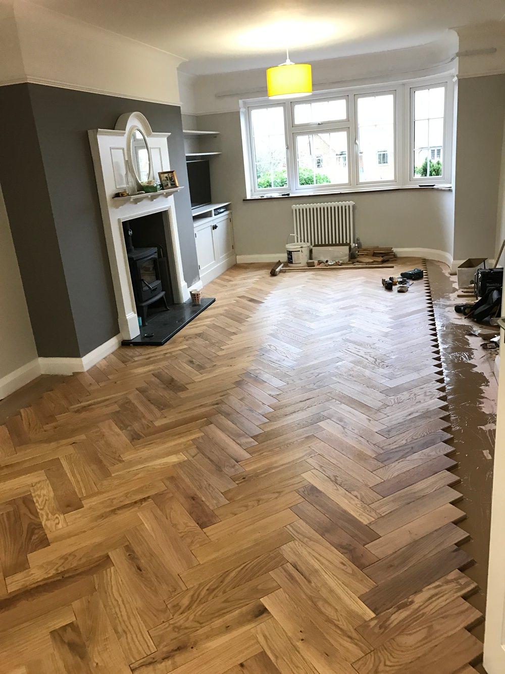 1930s House Living Room Renovation Parquet Floor Flooring Herringbone Oak Solid Wood Hardwood
