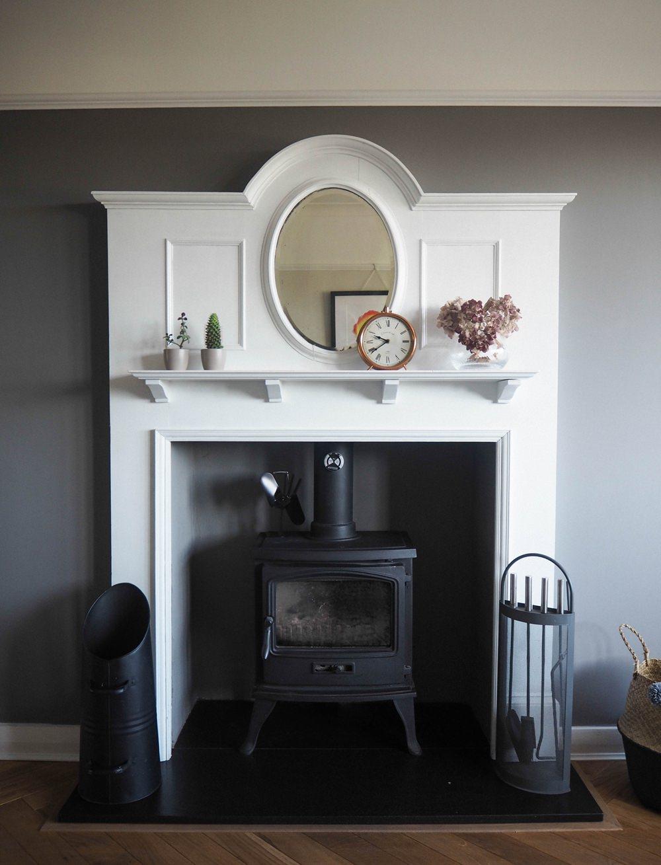 1930s House Living Room Renovation Art Deco Fireplace Mantle Mirror Oval White Log Burner Farrow & Ball Mole's Breath Herringbone Parquet Floor
