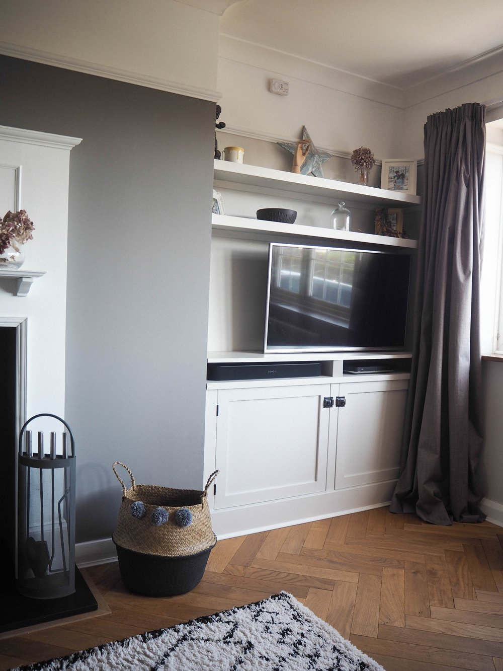 1930s House Living Room Renovation Built In TV Cupboard Alcove Shelf Shelving DIY