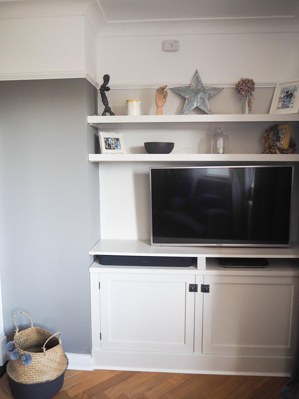 Built In TV Cupboard Alcove Shelf Shelving DIY 1930s House Living Room Renovation