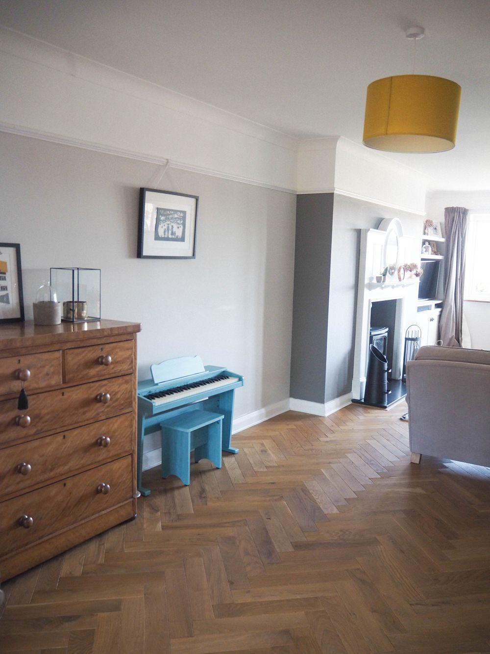 1930s House Living Room Renovation Picture Rails Period Features Farrow & Ball Ammonite Parquet Floor Herringbone Oak