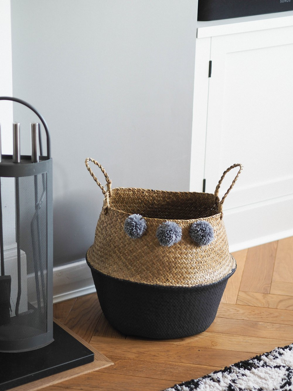 1930s House Living Room Renovation Belly Basket Dipped Paint Grey Pom Poms Storage