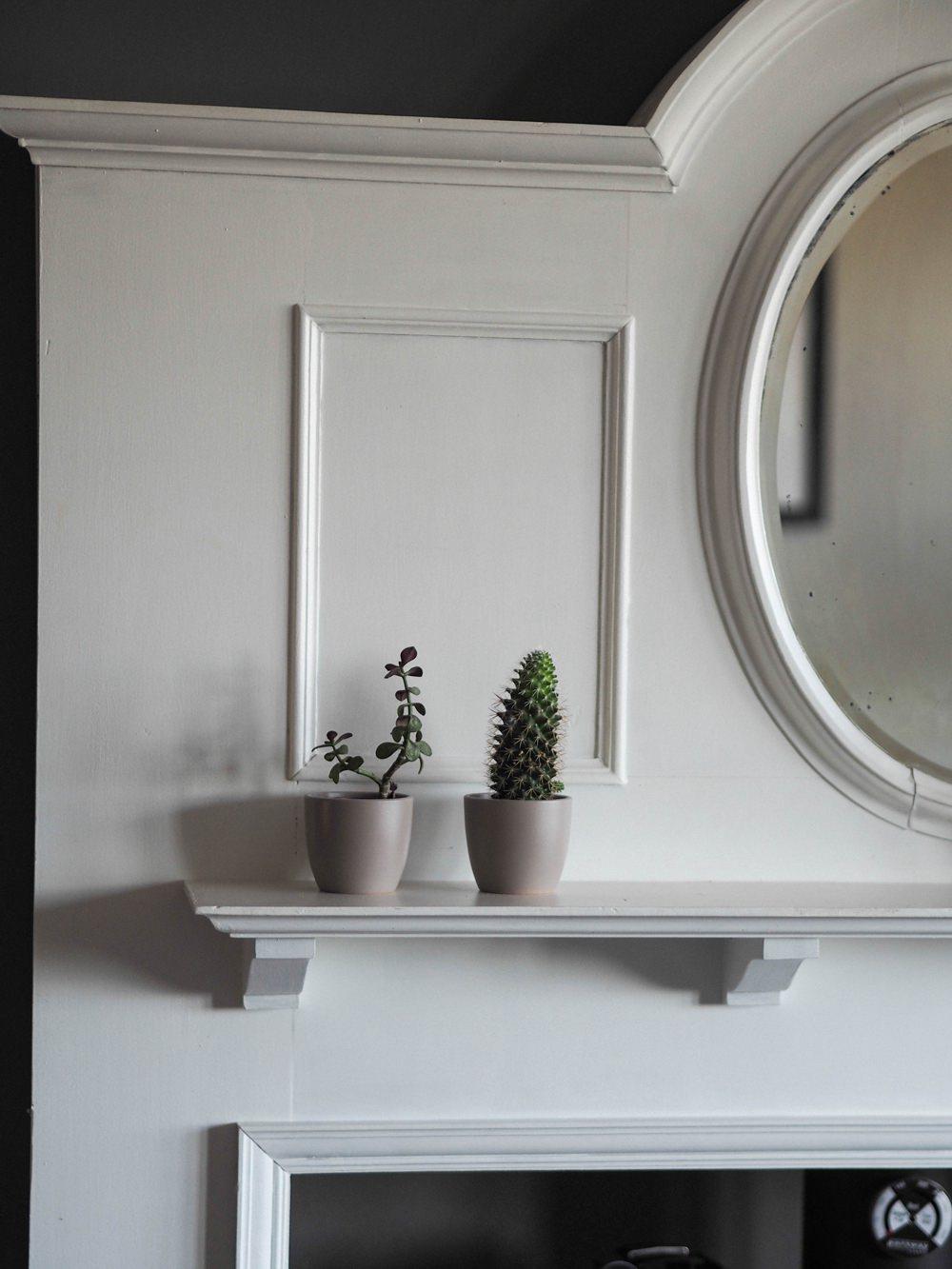 1930s House Living Room Renovation Art Deco Fireplace Mantle Mirror Oval White Log Burner Farrow & Ball Mole's Breath Succulents