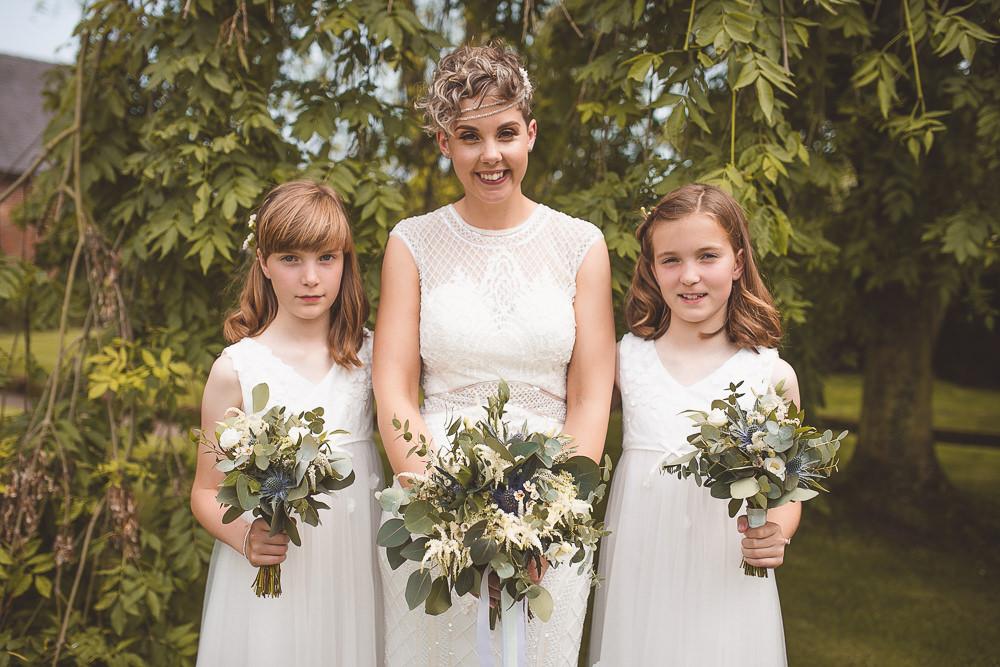 Flower Girls Dresses Barn Wedding Shropshire Brightwing Photography