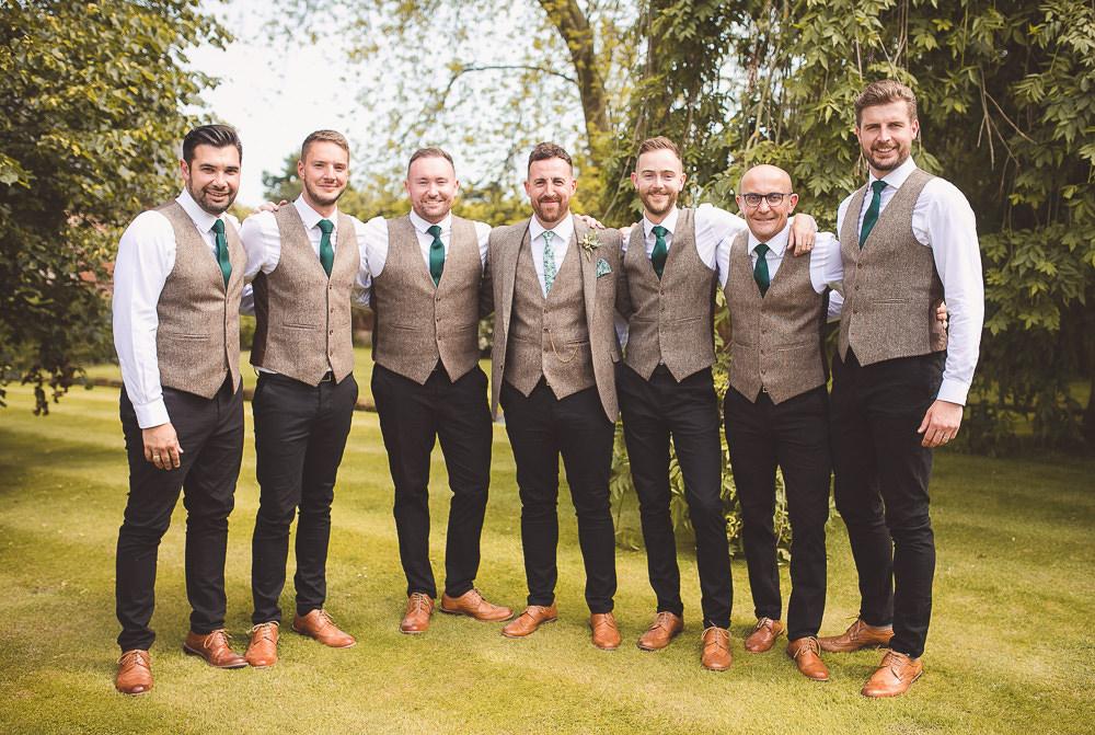 Groom Suit Tweed Waistcoat Tie Groomsmen Chinos Barn Wedding Shropshire Brightwing Photography