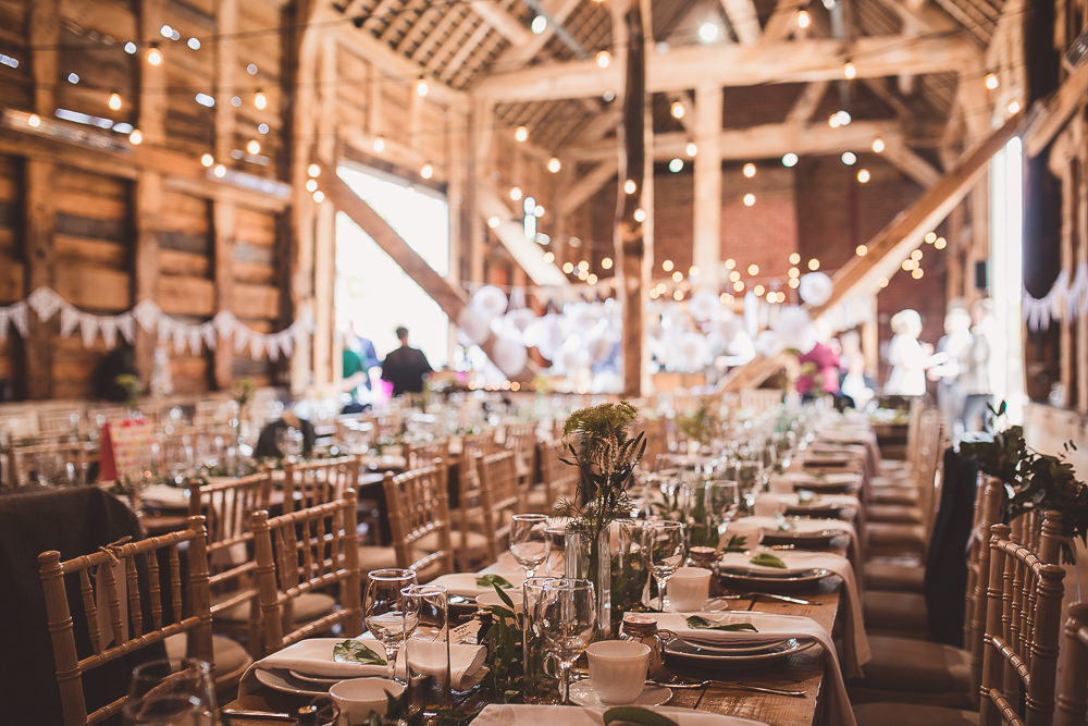 Festoon Lights Long Tables Wooden Decor Decoration Barn Wedding Shropshire Brightwing Photography
