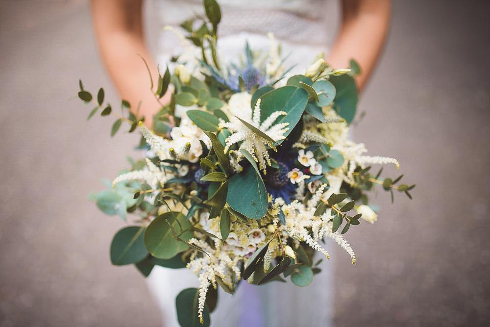 Bouquet Flowers Bride Bridal Bridesmaid Greenery Foliage Astilbe Thistle Barn Wedding Shropshire Brightwing Photography