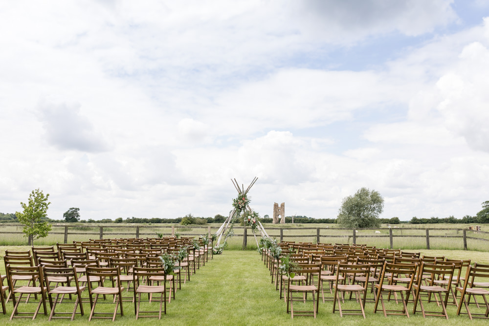 Outdoor Ceremony Naked Tipi Backdrop Botanical Barn Wedding Heather Jackson Photography