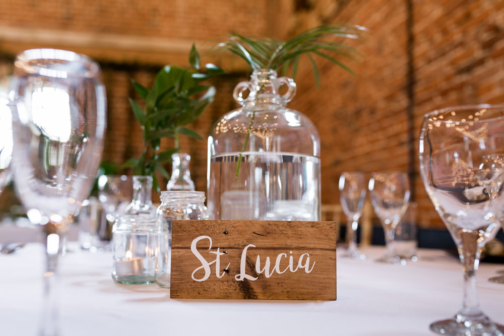Table Name Wooden Block Glass Bottle Centre Botanical Barn Wedding Heather Jackson Photography