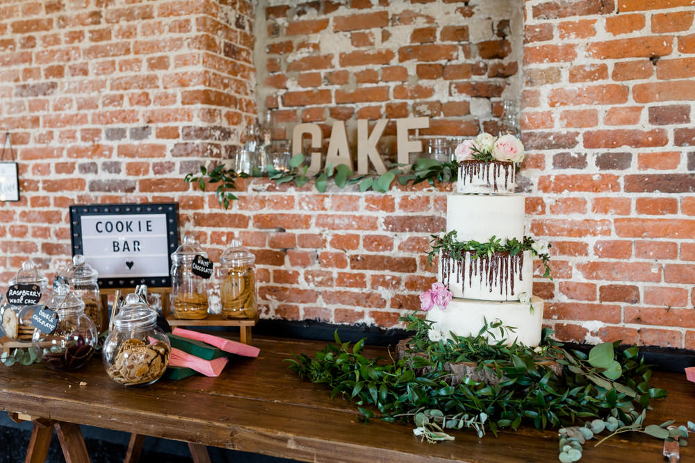 Cake Table Drip Greenery Foliage Cookie Bar Dessert Botanical Barn Wedding Heather Jackson Photography