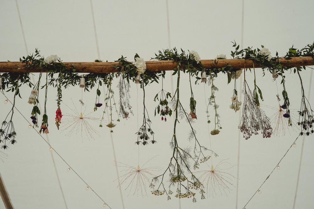 Hanging Wildflower Installation Beam Marquee British Countryside Wedding Georgia Rachael Photography