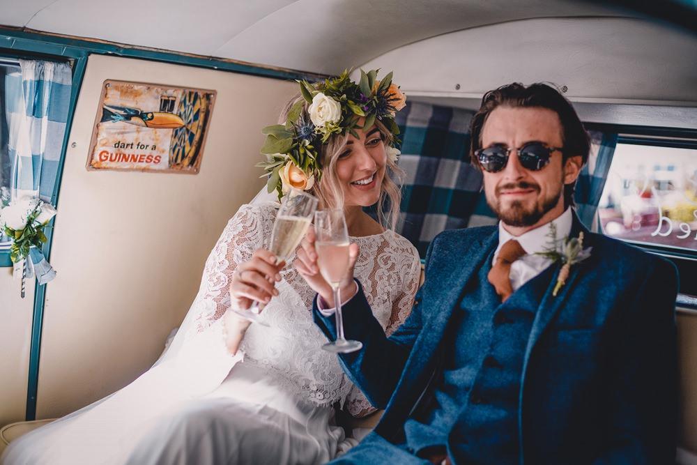 Bride Bridal Lace Long Sleeve Sweetheart Separates Blue Herringbone Tweed Suit Groom Flower Crown Veil VW Campervan DIY Bohemian Wedding Love & Bloom Photography