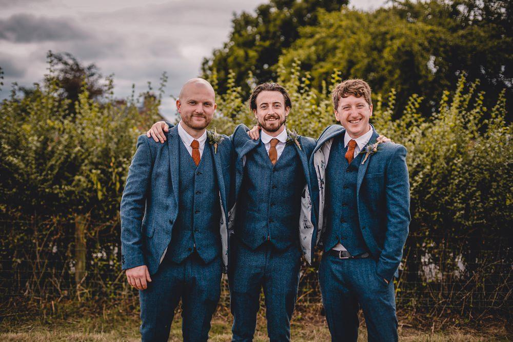 Groom Groomsmen Best Man Blue Tweed Herringbone Three Piece Waistcoat Suit DIY Bohemian Wedding Love & Bloom Photography