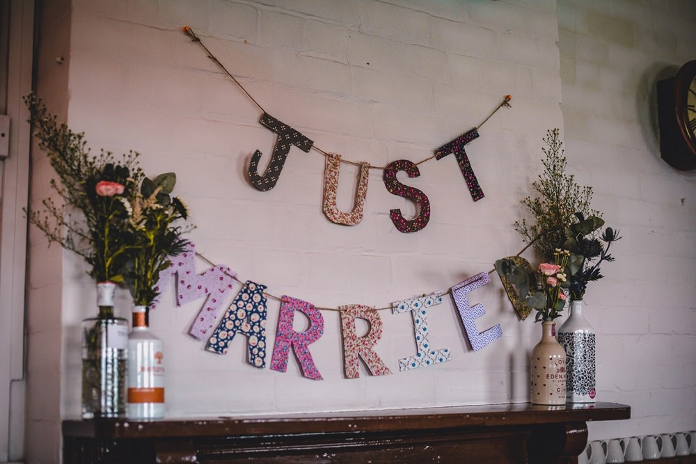 Just Married Mismatched Material Letters Banner Bunting DIY Bohemian Wedding Love & Bloom Photography