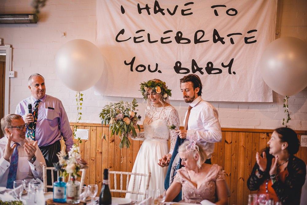 Bride Bridal Lace Long Sleeve Sweetheart Separates Blue Herringbone Tweed Suit Groom Flower Crown Veil Giant Helium Balloons Trailing Ivy DIY Bohemian Wedding Love & Bloom Photography