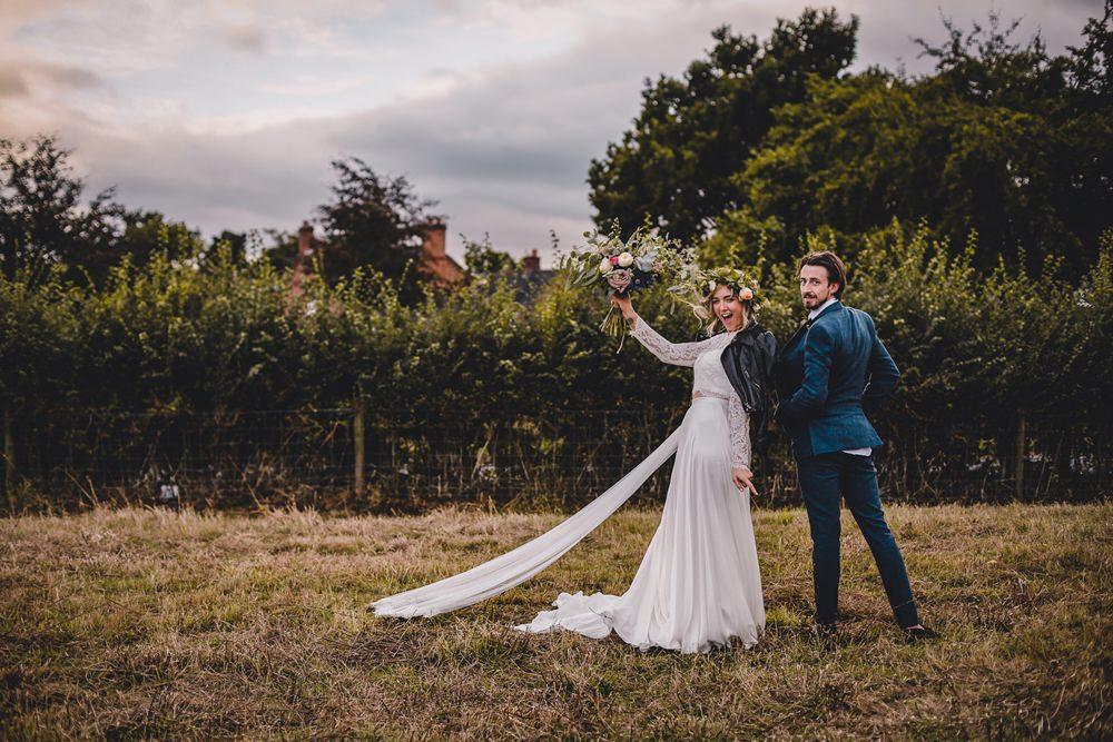Bride Bridal Lace Long Sleeve Sweetheart Separates Blue Herringbone Tweed Suit Groom Flower Crown Veil Leather Jacket DIY Bohemian Wedding Love & Bloom Photography