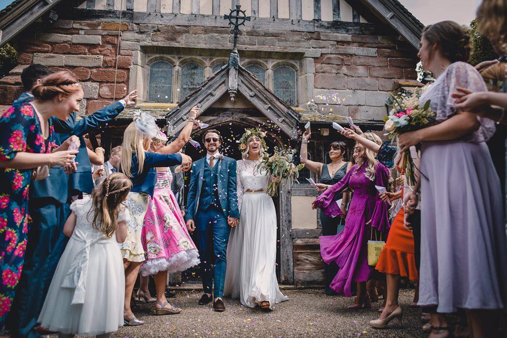 Bride Bridal Lace Long Sleeve Sweetheart Separates Blue Herringbone Tweed Suit Groom Flower Crown Veil Confetti DIY Bohemian Wedding Love & Bloom Photography