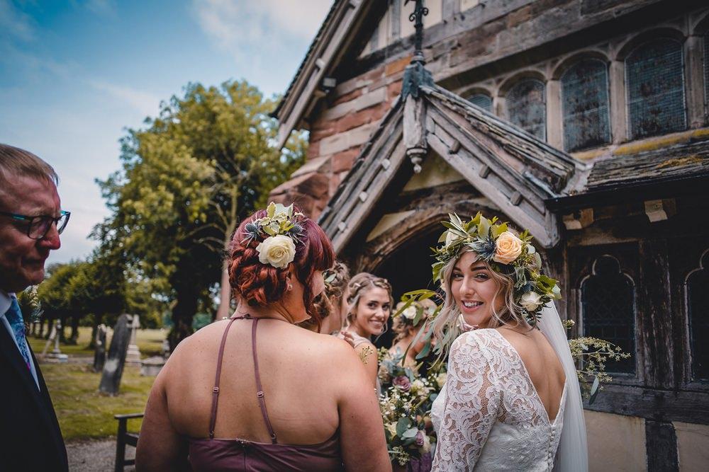 Bride Bridal Lace Long Sleeve Sweetheart Separates Mismatched Bridesmaids Flower Crown Veil DIY Bohemian Wedding Love & Bloom Photography