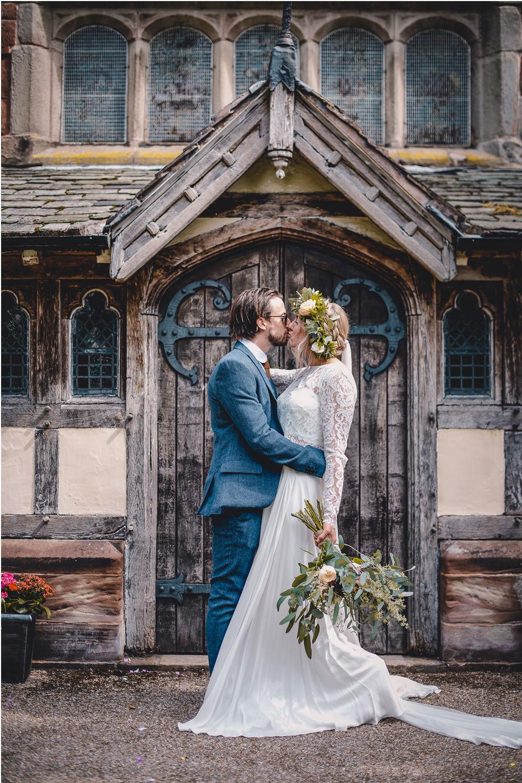 Bride Bridal Lace Long Sleeve Sweetheart Separates Blue Herringbone Tweed Suit Groom Flower Crown Veil DIY Bohemian Wedding Love & Bloom Photography