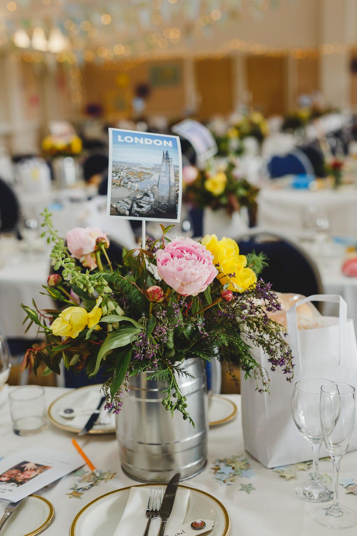 Table Name London Postcard Floral Table Centre Miniature Barrel East Keswick Village Hall Wedding James & Lianne Wedding Photography