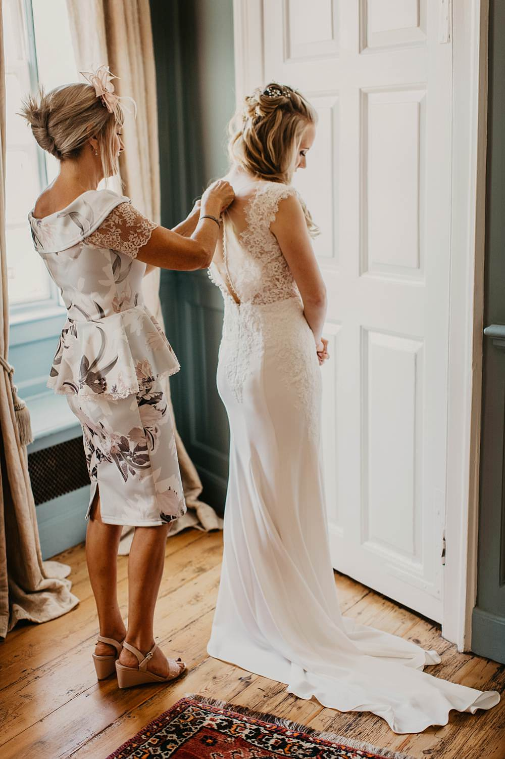 Dress Gown Bride Bridal Fit and Flare Fishtail Wed2B Eggington House Wedding October Willis Photography