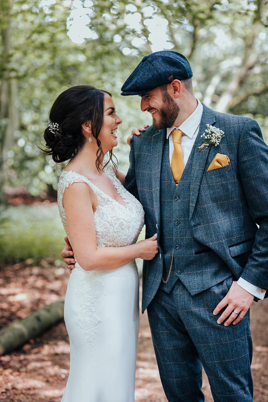 Hazlewood Castle Woodland Wedding Nicola Mackrill Photography Bride Bridal Dress Gown Wed2B Train Straps