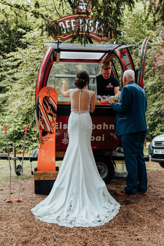 Ice Cream Cart Van Bride Bridal Dress Gown Wed2B Train Straps Hazlewood Castle Woodland Wedding Nicola Mackrill Photography