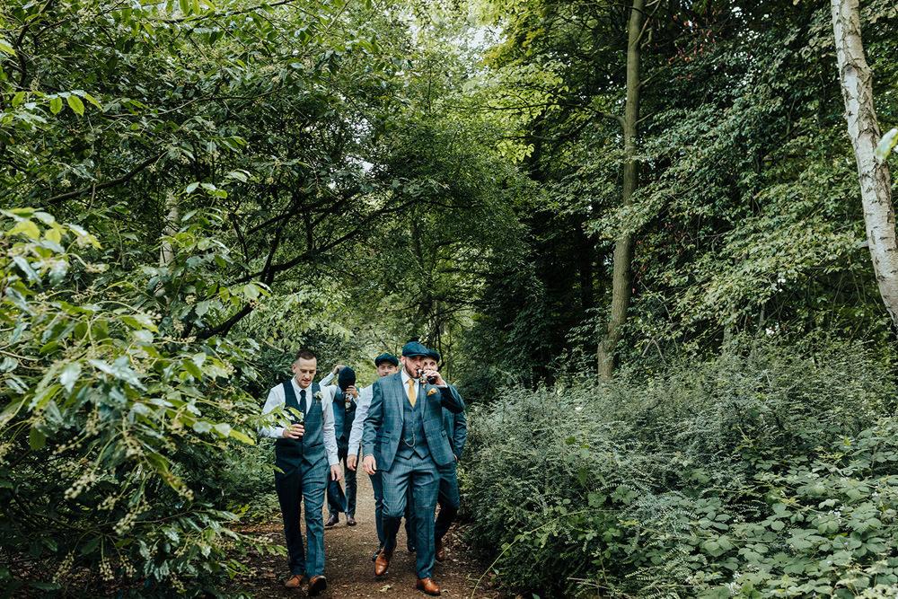 Groom Groomsmen Blue Suits Waistcoats Hazlewood Castle Woodland Wedding Nicola Mackrill Photography