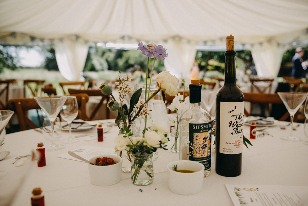 Table Flowers Centrepiece Vase Jar Horsebridge Station Wedding Emily Grace Photography