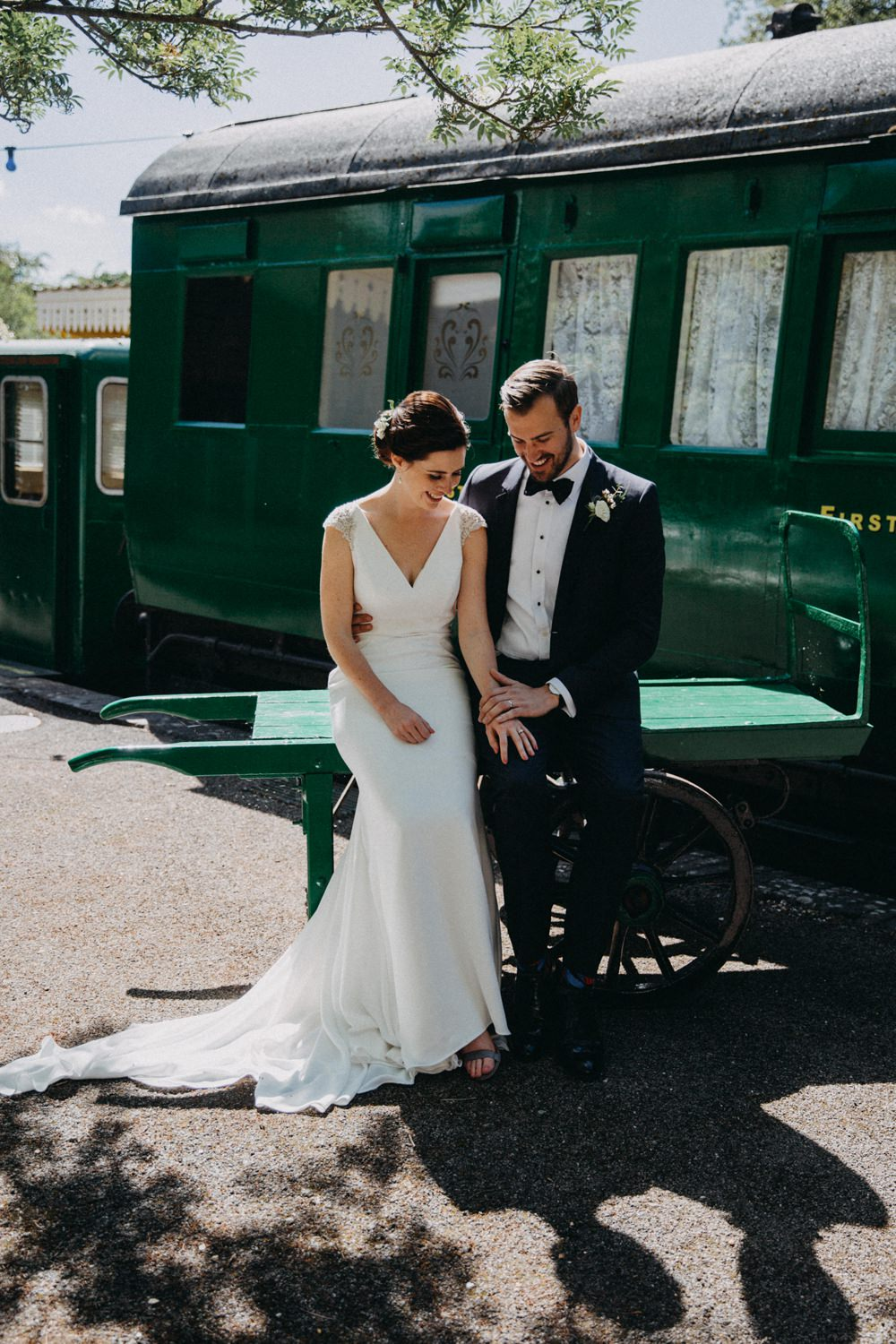 Groom Suit Dark Blue Tux Bow Tie Horsebridge Station Wedding Emily Grace Photography