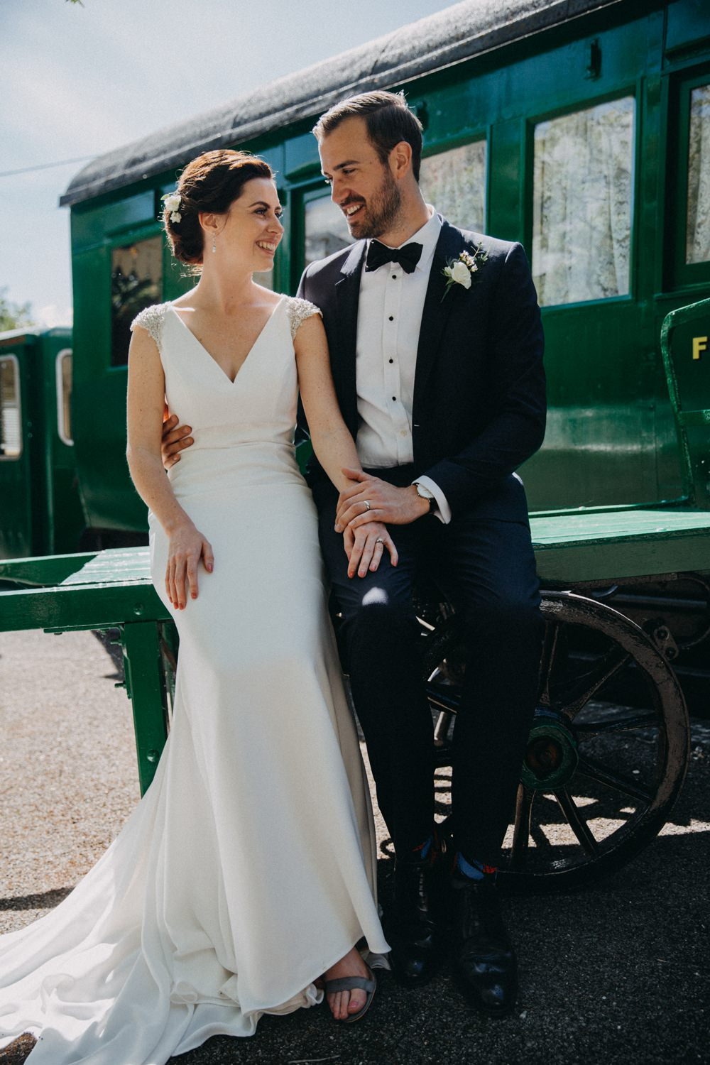 Bride Bridal Dress Gown Straps Fit and Flare Train St Patrick Horsebridge Station Wedding Emily Grace Photography