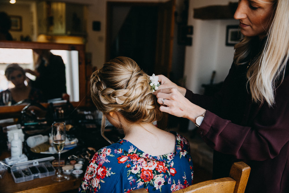 Bridesmaid Hair Style Up Do Plait Braid Horsebridge Station Wedding Emily Grace Photography