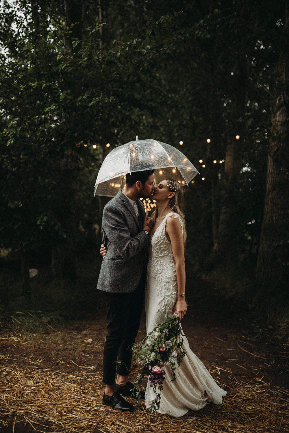 Rainy Rain Umbrella Groom Groomsmen Suit Collar Grey Monk Shoes Horsley Hale Farm Wedding Thyme Lane Photography